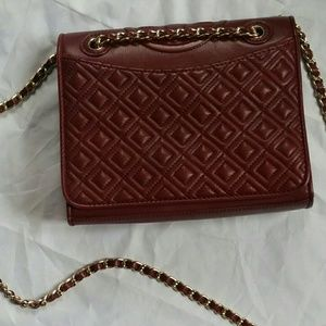 Tory Burch Burgundy Quilted Fleming Crossbody bag